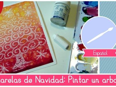 Acuarelas de NAVIDAD: Como Pintar un arbol de Navidad con ingrediente secreto! (FACIL)