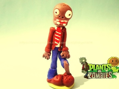 Boligrafo decorado Zombie porcelana fria. Plants vs Zombies cold porcelain plastilina