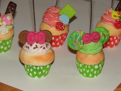 Como hacer un cupcake porta notas facil de porcelana fria