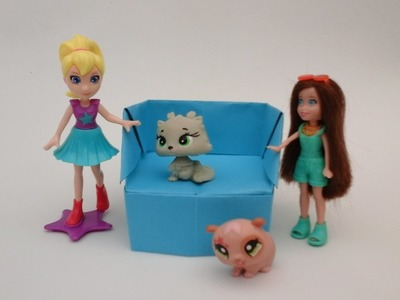 COMO HACER UN SILLON INDIVIDUAL  DE PAPEL  PARA  BARBIES, POLLY POCKET, MONSTER HIGH… ORIGAMI