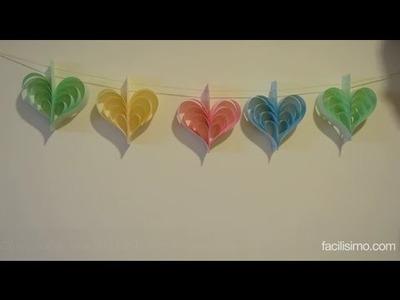 Cómo hacer una guirnalda de corazones de papel | facilisimo.com