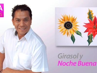 Como Pintar una Nochebuena y un Girasol con Miguel Rincón