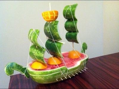 Convierte una sandia en un barco, idea para regalar el dia del padre - La receta de la abuelita