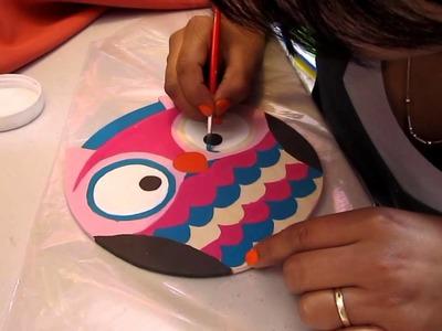 Manualidades en  tijuana (pintando Buho)