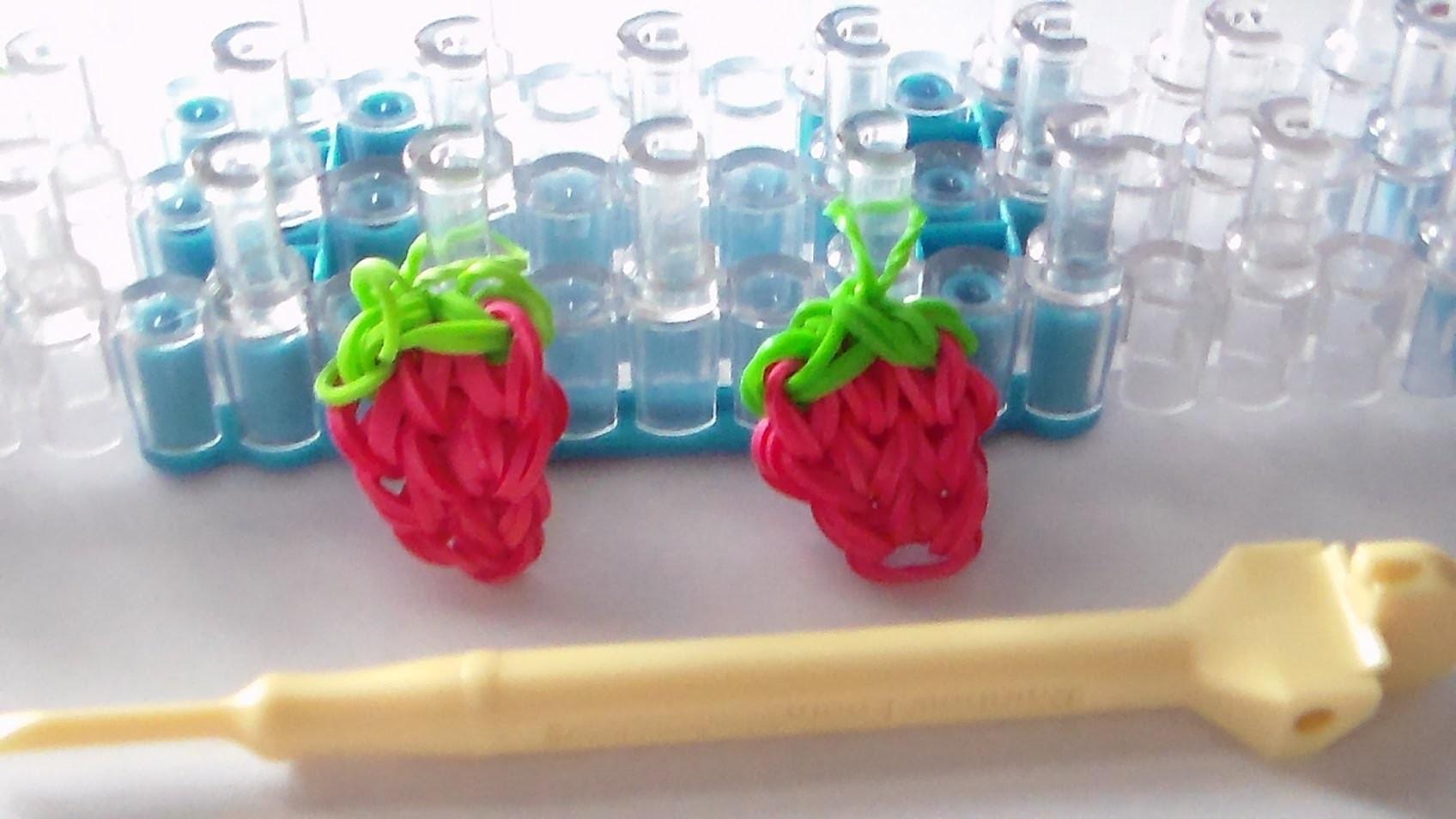 Rainbow Loom Stawberry Charm Tutorial | Como Hacer Rainbow Loom: Fresa Con Gomitas
