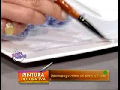 Rosana Ovejero - Bienvenidas TV - Explica como hacer decoupage sobre un plato de loza