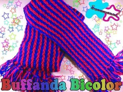 Bufanda de 2 colores con telar (paso a paso) ★SUPERMANUALIDADES★