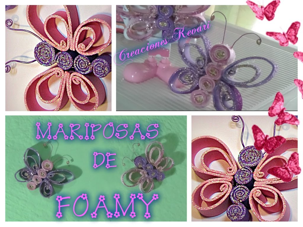 Mariposas de Foamy DIY.Butterfly made ​​of craft foam