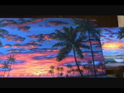 Puesta del sol rojo color 5 leccion de pintura acrilicos classe de arte