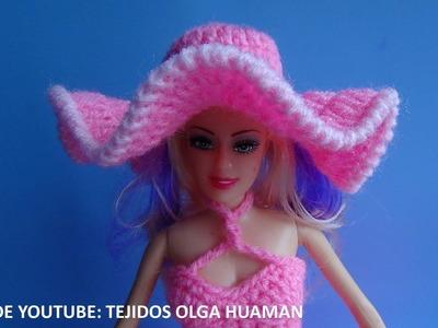 Sombrero tejido a crochet para muñeca