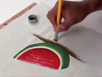 Como pintar una sandia en tela