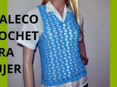Como tejer un Chaleco Express para mujer en tejido crochet