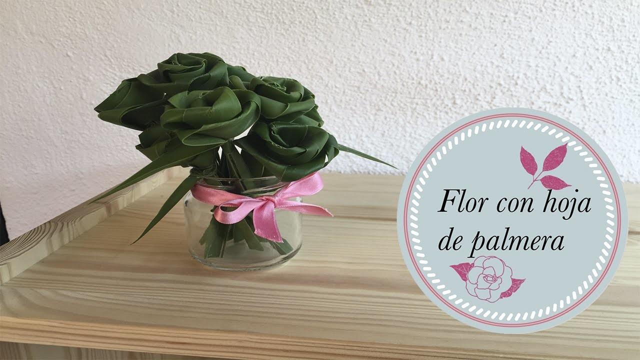 Flor con hoja de palmera (artland). Manualidades de reciclaje. Recycling Crafts.