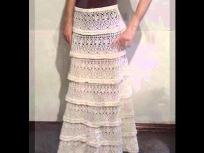 Modelos de faldas largas tejidas a crochet