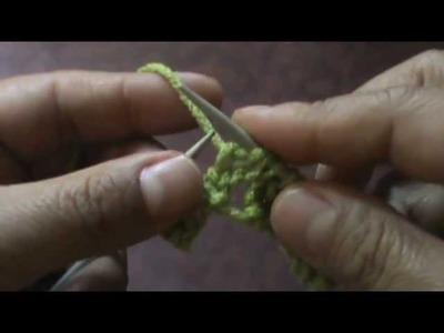 Orilla de hojas caladas (dos agujas o palillos)