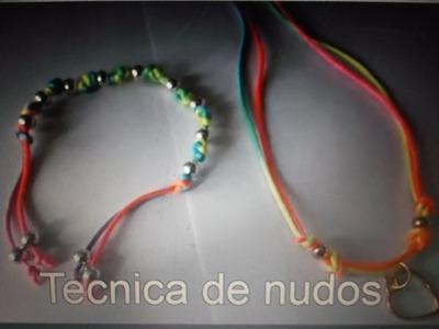 Pulsera y collar neon con la tecnica de nudos diy
