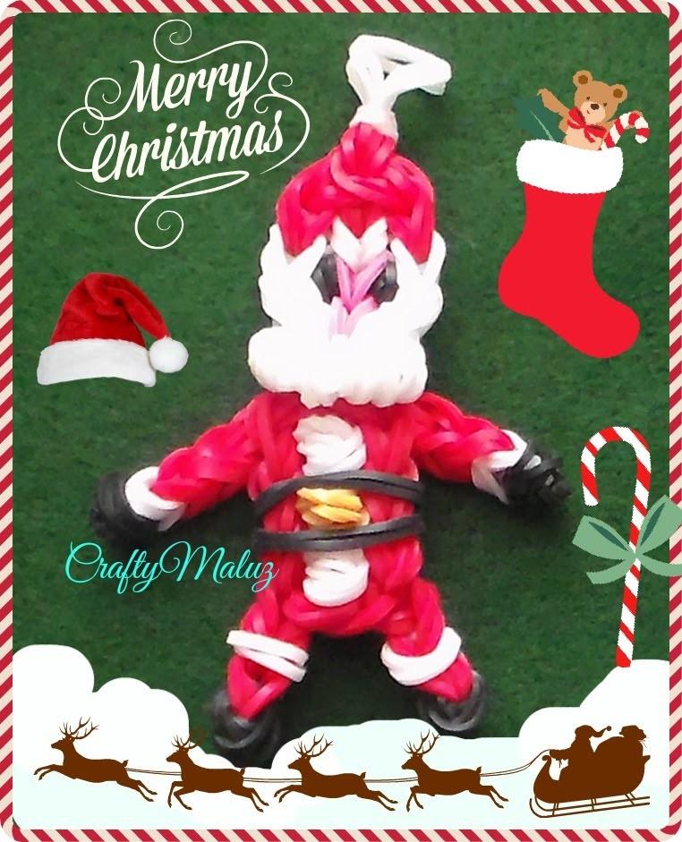 Tutoriales:Papá Noel (Santa Claus) de Gomitas Con telar. Rainbow Loom Santa Claus