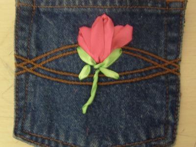 DIY Cómo hacer un monedero reciclando y con flor bordada en listón.