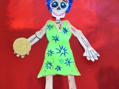 DIY Decora esqueleto papel Alegría Intensamente halloween Dia de Muertos  decorated paper skeleton