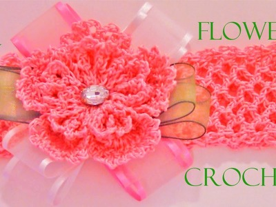 DIY flores a crochet en moños y diademas - crochet flowers in ribbons and headbands