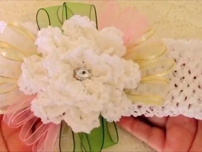 DIY  flores a crochet y diademas - flowers to crochet headbands with ribbons