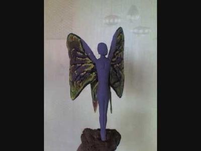 Elaboracion de una mariposa con madera y papel