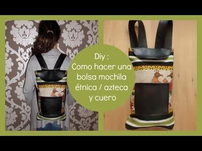 Diy :Bolsa mochila étnica y cuero de costura fácil