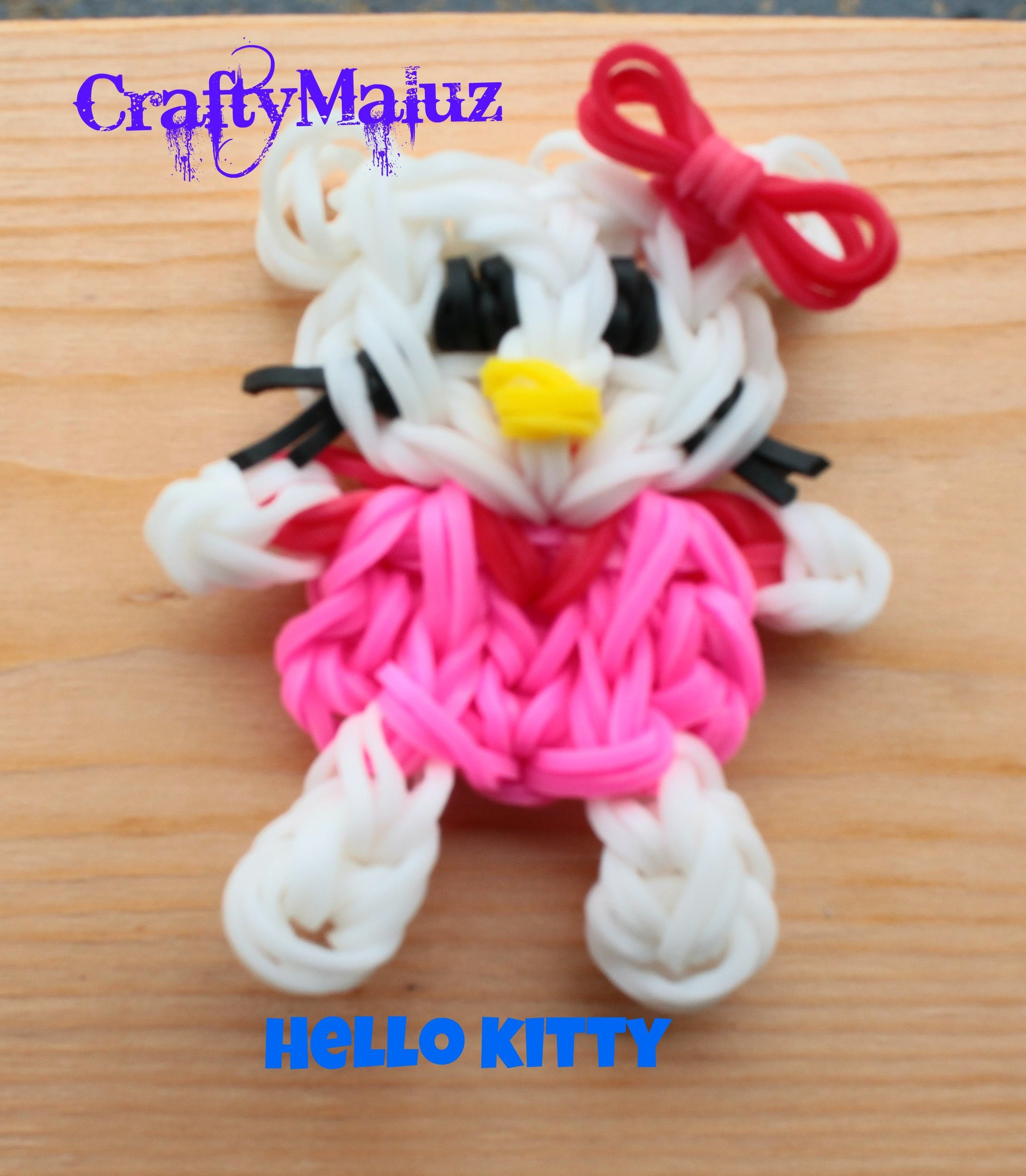DIY♥ Hello Kitty de gomitas - ligas Rainbow Loom. Hello Kitty Rainbow Loom Charm