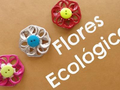 Flores con anillas de lata (FACIL+ECOLOGICO)