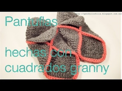 Pantuflas hechas con granny (para zurdos)
