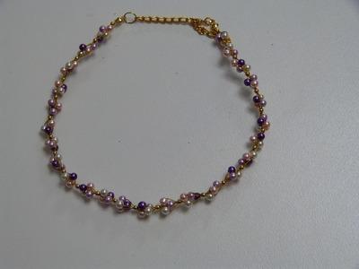 Como elaborar collares con perlas, guaya y balines. Manualidades la Hormiga