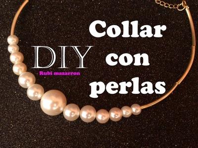 Diy. Collar con perlas y tubos dorados