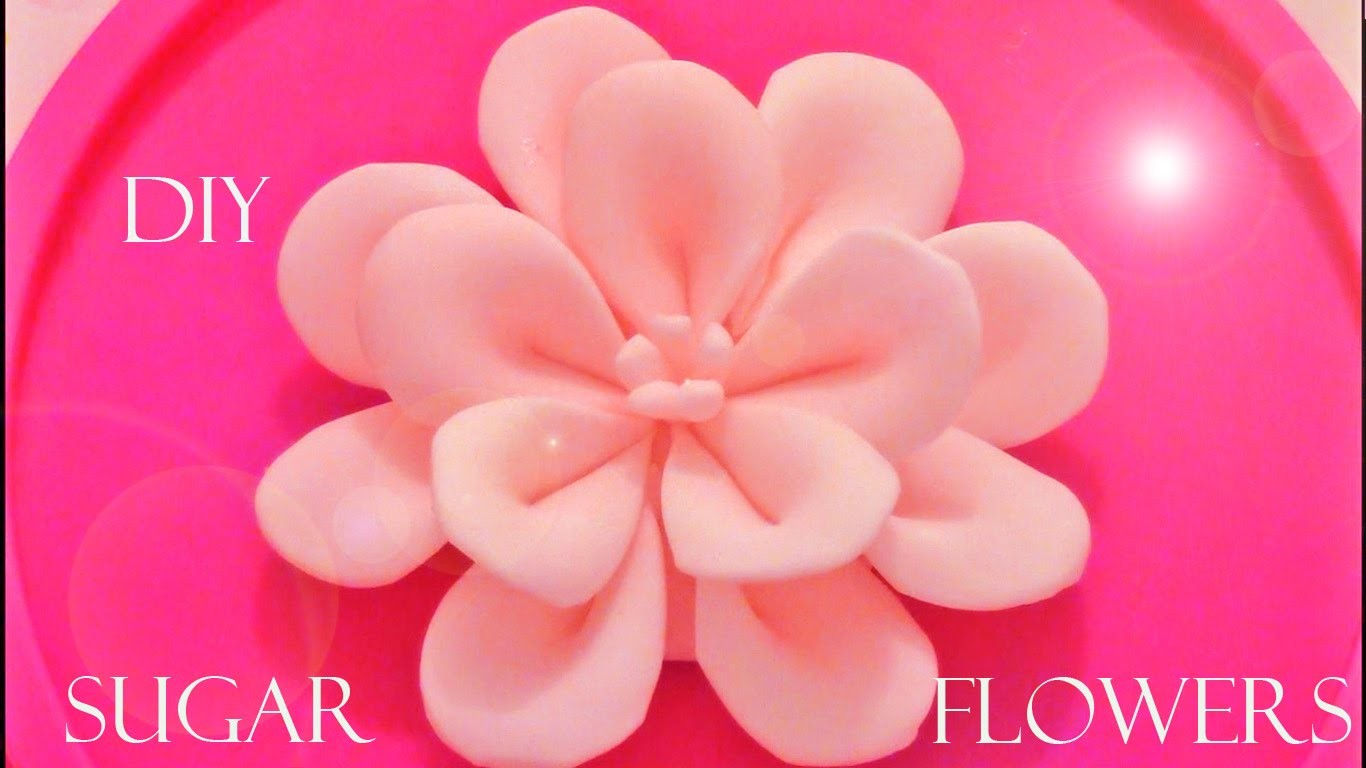 DIY como hacer flores Kanzashi de fondant - how to make fondant flowers Kanzashi