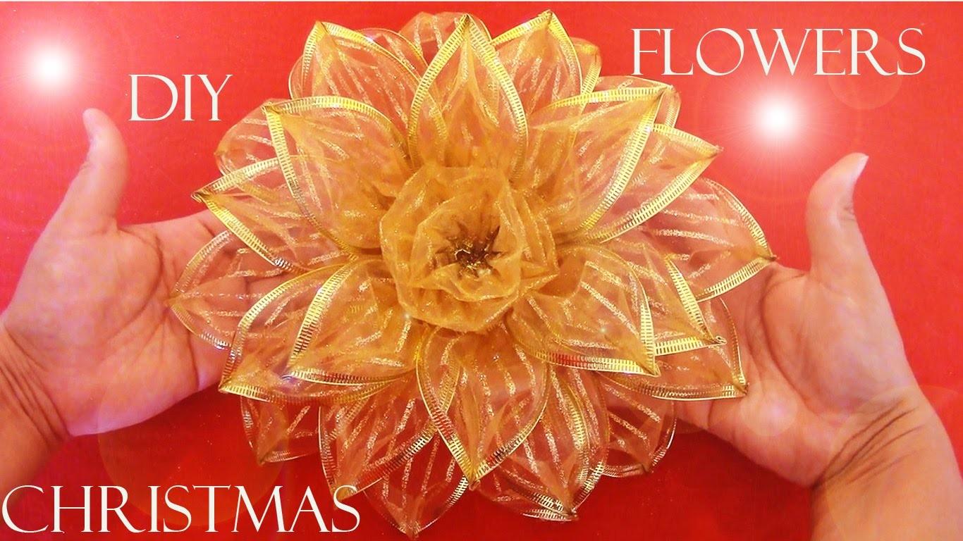 Diy moños navideños -  Christmas flowers