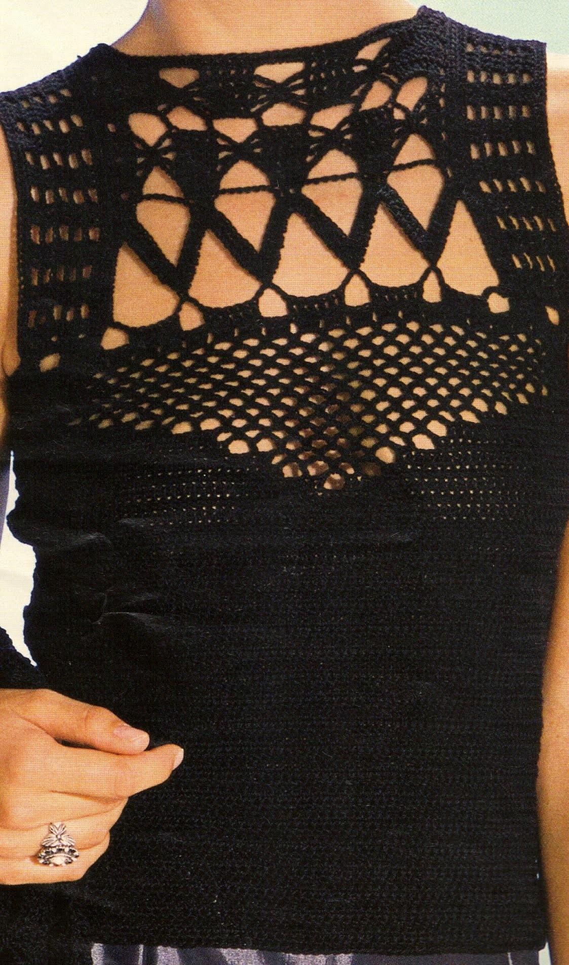 Blusa sin mangas a crochet