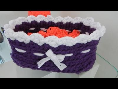 Cesta Canasto Rectangular Trapillo Crochet Ganchillo