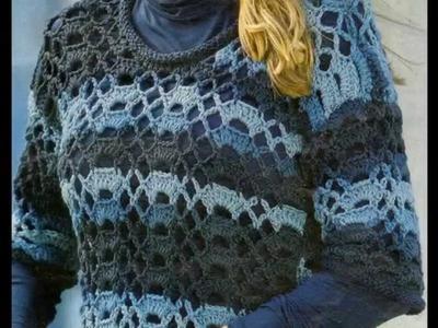 Como Tejer Jersey Calado Combinación de Tonos a Crochet