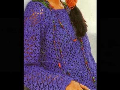 Tejido calado muestra cuadros a crochet