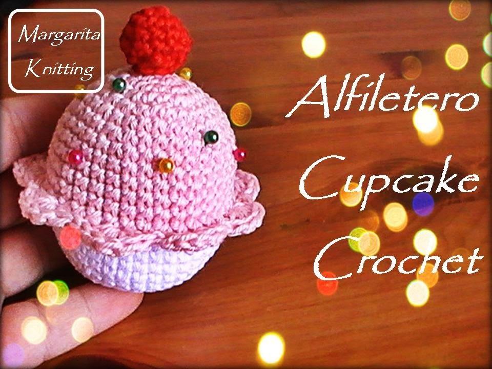 Alfiletero de cupcake a crochet (diestro)