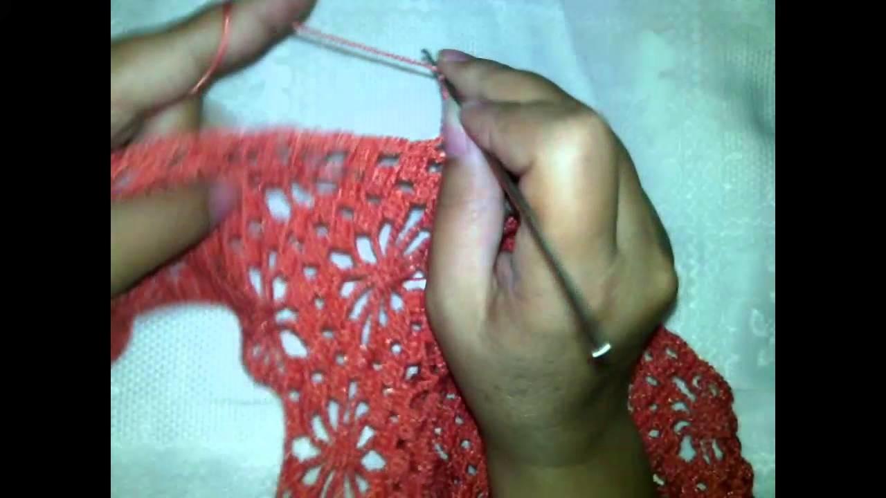 Como hacer una blusa de manga 3.4 en crochet paso a paso Cuarta parte