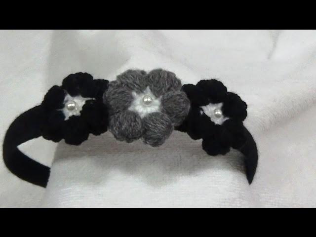 Diadema a Crochet Flor Puff. Revolución de Colores