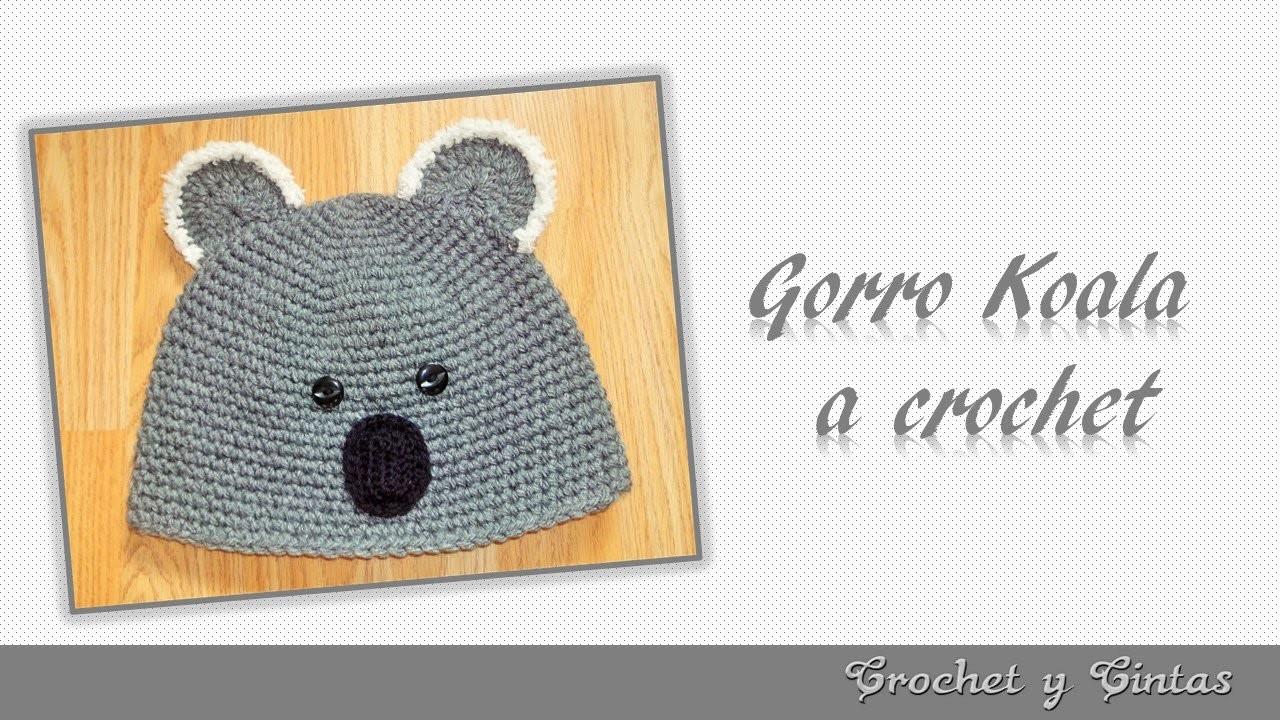 Gorro Koala para niños tejido a crochet