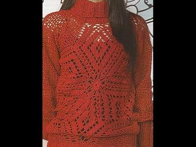 Gráficos para tejer suéter cuello alto a crochet
