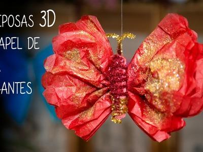 Mariposas 3D de Papel de Seda Colgantes