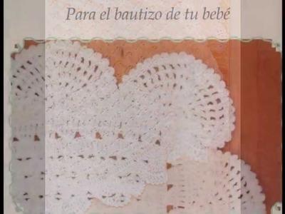 Cobijita punto de conchas ideal bautizo a crochet alto grado de dificultad