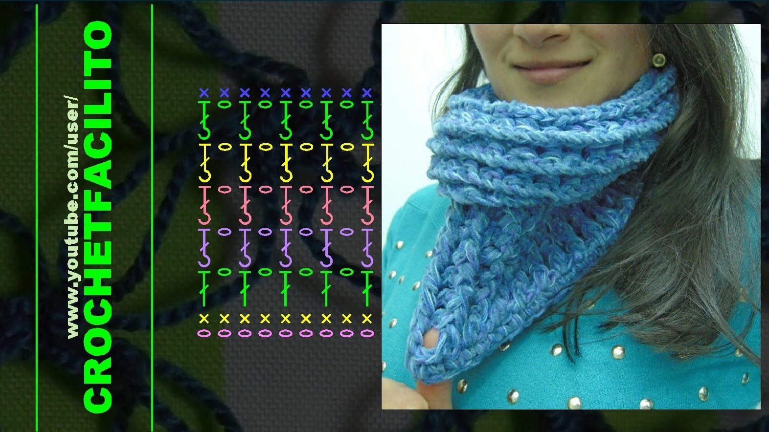 CROCHET - 18. UN GRUESO CUELLITO AZUL - A THICK AND QUICK BLUE NECK WARMER !!