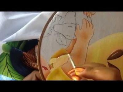 Pintura en tela niña pera # 5 con cony