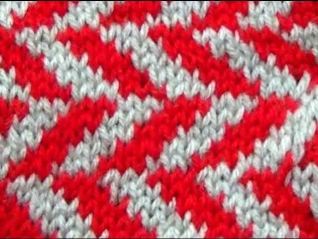 Cómo Tejer Zig-Zag en Colores-Knit Faire Isle 2 Agujas (302)