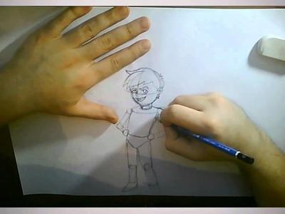 Dibujo de personaje sobre Papel