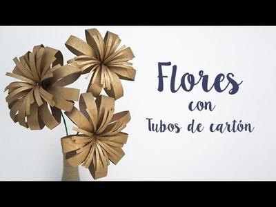 DIY Decoración - Flores con tubos de cartón reciclado